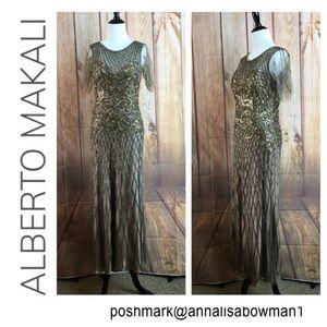 Alberto Makali Long Beaded Evening Gown Size 8